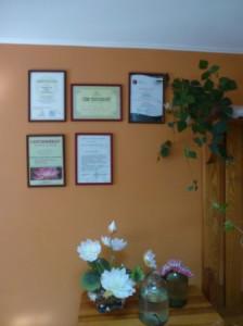 Сертификаты на стене